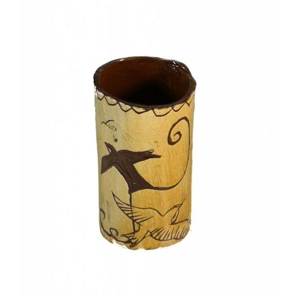 Birds in flight Slipware vase  006