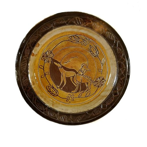 Glandwyryd Ceramics Greyhounds-Slipware-Plater 010