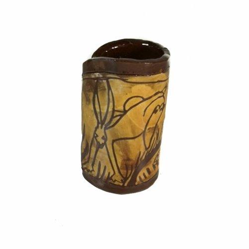 Glandwyryd Ceramics Jarrón Slipware de liebre y sol 008