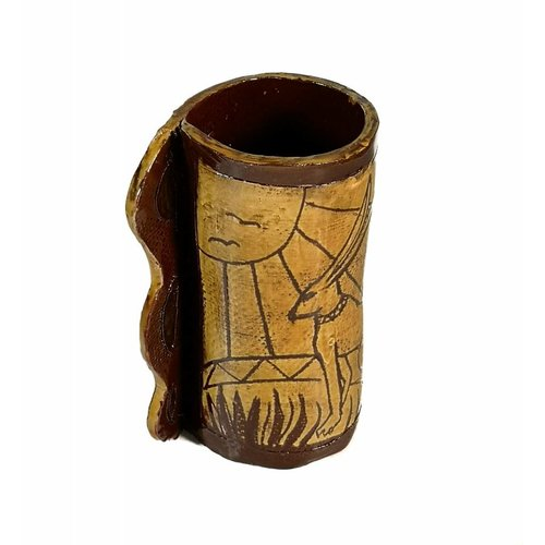 Glandwyryd Ceramics Hares on sunny hillside Slipware vase  004