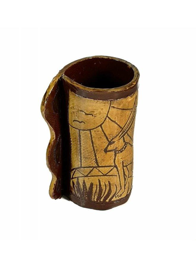 Hasen auf sonnigem Hang Slipware Vase 004