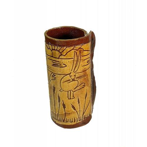 Glandwyryd Ceramics Slipware vase sunrise hares 001