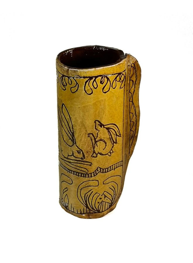 Drei springende Hasen Slipware Vase 002