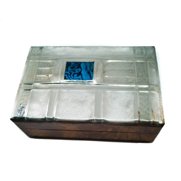 Little Windows Pewter and wood hinged box