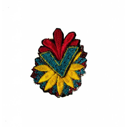 Laura Marriott Arrow Flower multi embroidered brooch boxed 020