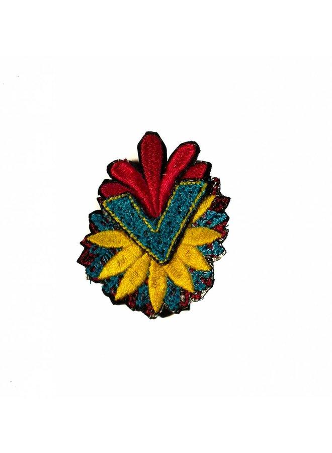 Pfeil Blume mehrfach bestickte Brosche Box 020