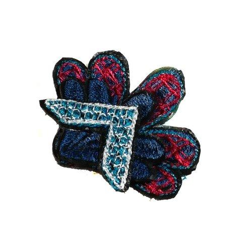 Laura Marriott Arrow Flower broche bordado multi en caja 021