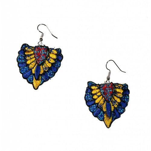 Laura Marriott Batu dk. blue  embroidered  drop earrings 034