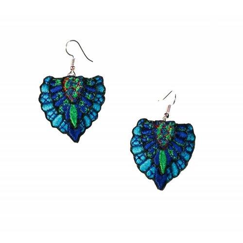 Laura Marriott Batu lt.. blue  embroidered  drop earrings 035