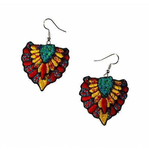 Laura Marriott Batu multi  embroidered  drop earrings 036