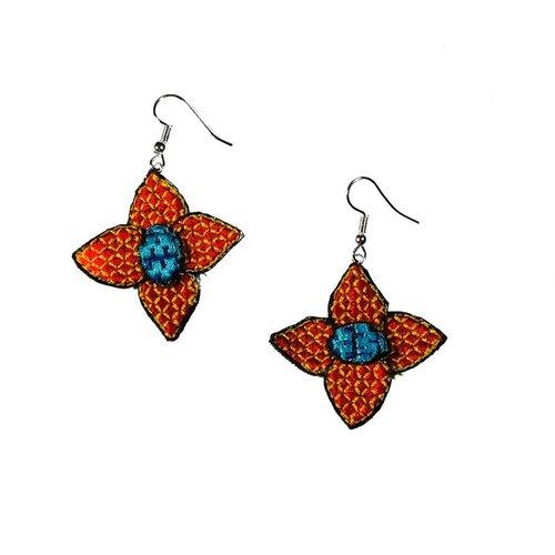 Laura Marriott Flower orange embroidered  drop earrings 030