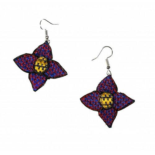 Laura Marriott Flower purple embroidered  drop earrings 028