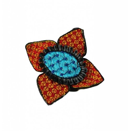 Laura Marriott Ikat orange Blume gestickte Brosche Box 012