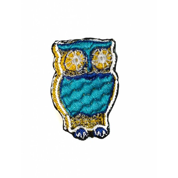 Owl Gold eyed embroidered brooch 023