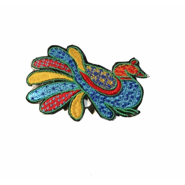 Broche bordado azul pavo real en caja 006