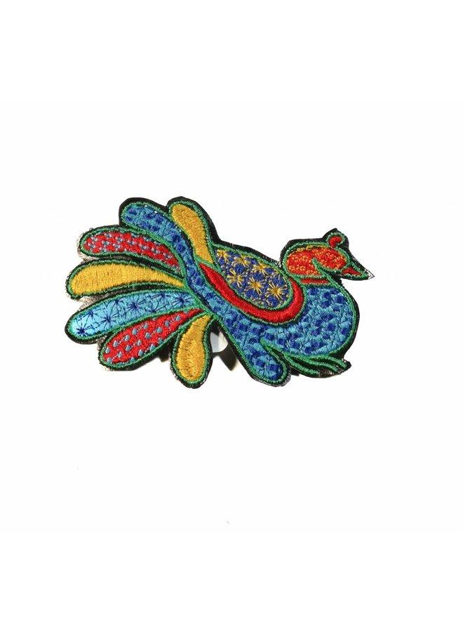 Pfauenblau gestickte Brosche 006
