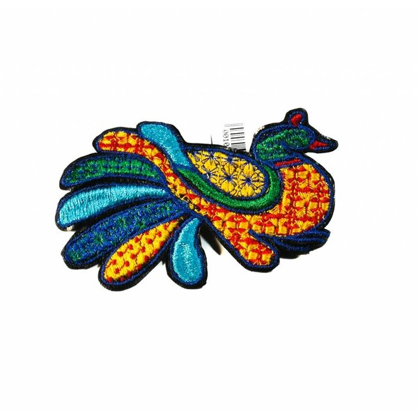Peacock gold embroidered brooch boxed 007