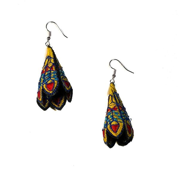 Peacock yellow embroidered  drop earrings 033