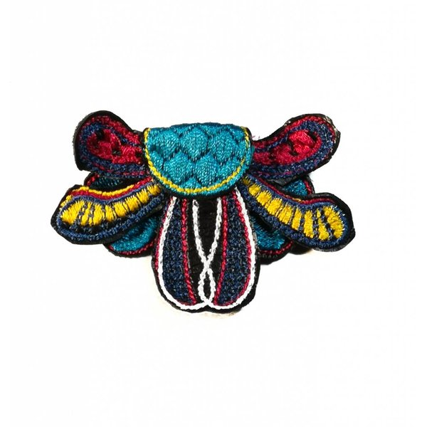 Radiant spray lt. bl.  embroidered brooch boxed 015