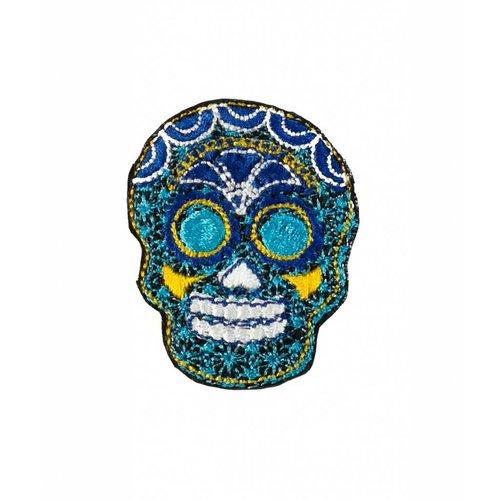 Laura Marriott Skull Blue embroidered brooch 024