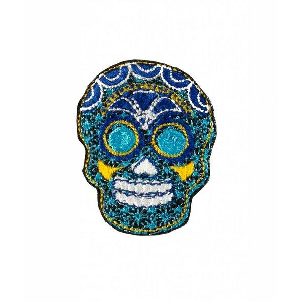 Cráneo azul bordado broche 024