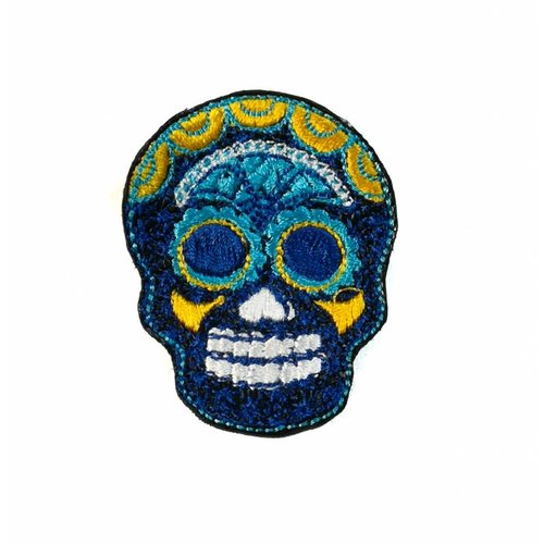 Laura Marriott Skull dark blue embroidered brooch 027