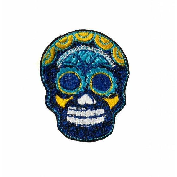 Cráneo bordado azul marino broche 027
