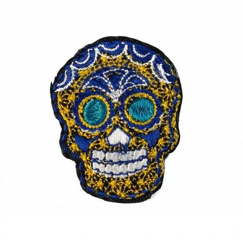 Laura Marriott Skull gold embroidered brooch 026