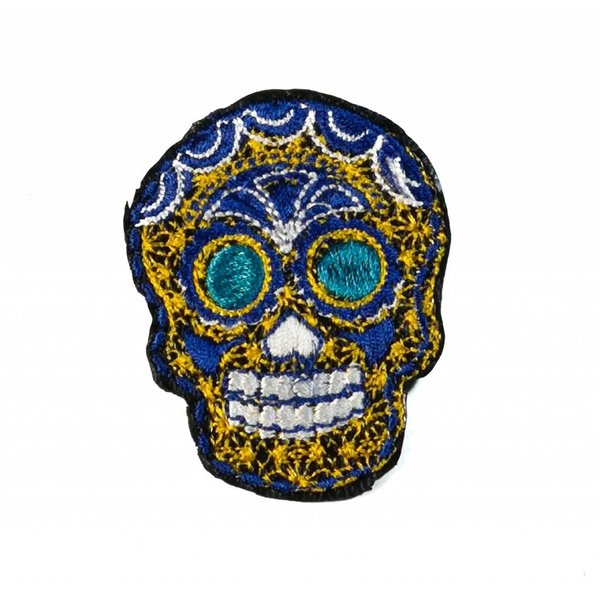 Broche bordado oro cráneo 026