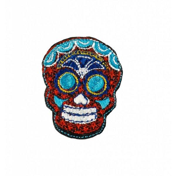 Cráneo bordado rojo broche 025
