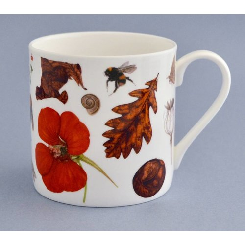 Rachel Pedder-Smith China Flora and fauna mug mainly orange 004