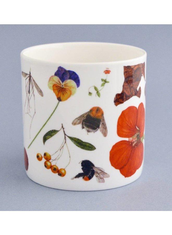 China Flora und Fauna Tasse hauptsächlich orange 004