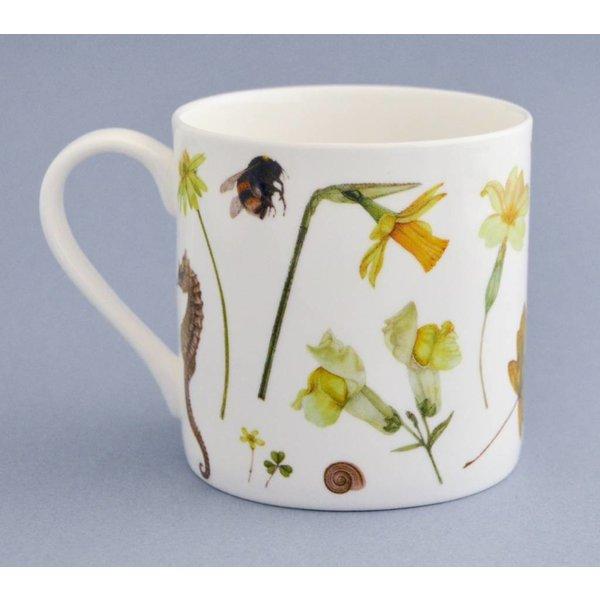 China Flora and fauna mug mainly yellow 001