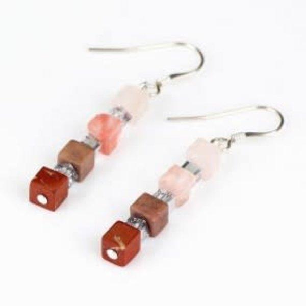 Coral semi-precious Tones  Earrings