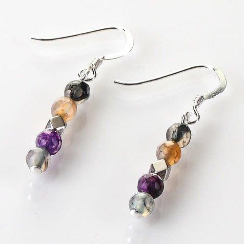 Carrie Elspeth Copy of Rainbow medley  12agate Earrings