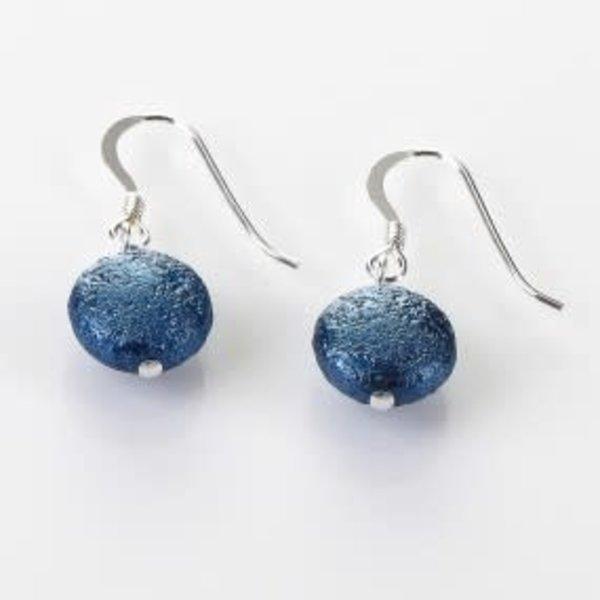 Denim  Moons Earrings