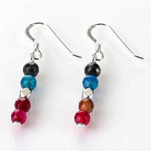 Carrie Elspeth Rainbow medley  1 agate Earrings