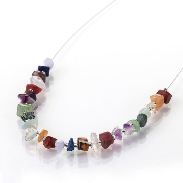 Semi-precious  links chips necklace