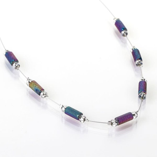 Spectrum lava tube spaced necklace