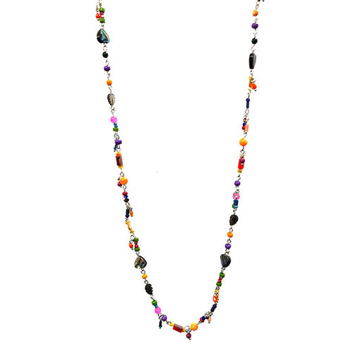 One Button Long tiny bright mixed beaded necklace 033