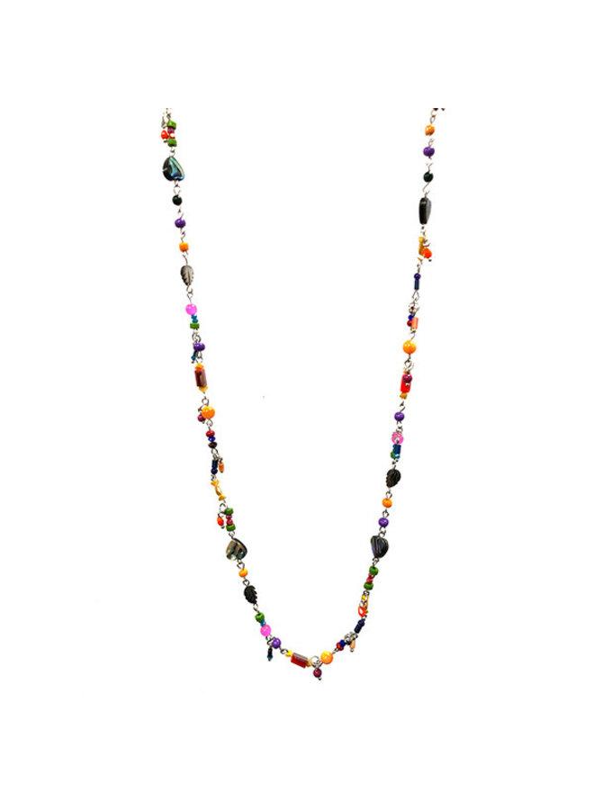 Long tiny bright mixed beaded necklace 033