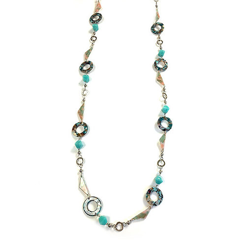 One Button Super long blues beaded marble circle necklace 029