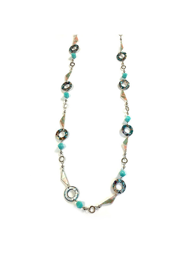 Super long blues beaded marble circle necklace 029