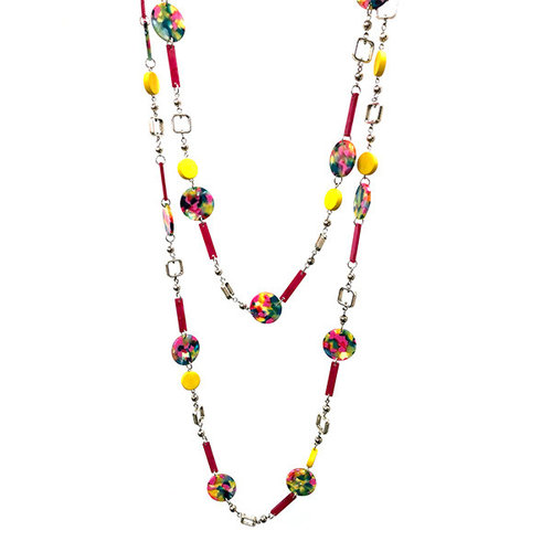 One Button Super long marbled  beaded shapes necklace 032