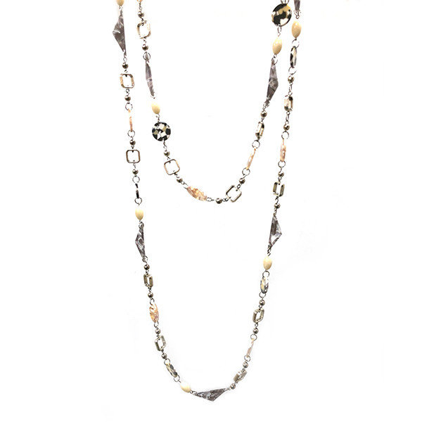 Super long creams beaded shapes necklace 031