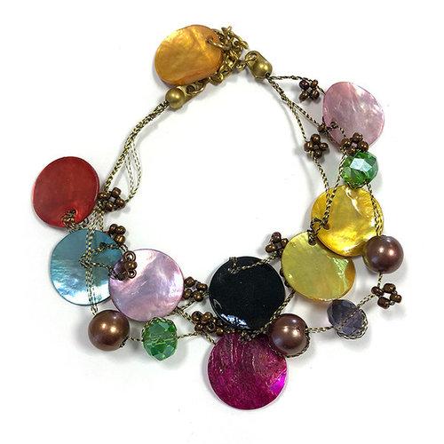 One Button Bracelet multi-colour discs