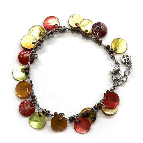 One Button Mother of pearl orange disc bracelet 018