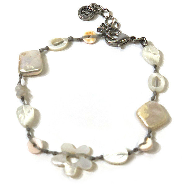 Copy of Mother of pearl green blue disc bracelet
