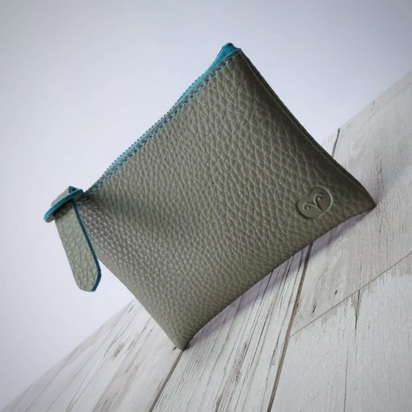 Coin purse vegan mushroom and blue wallet 009