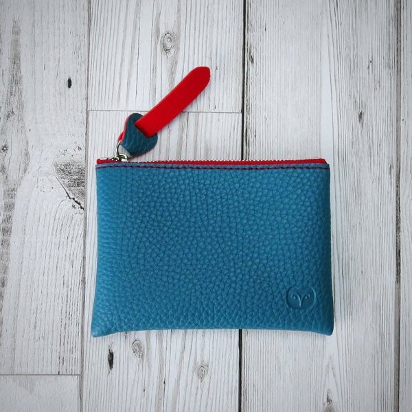 Coin purse vegan teal and orange wallet 010